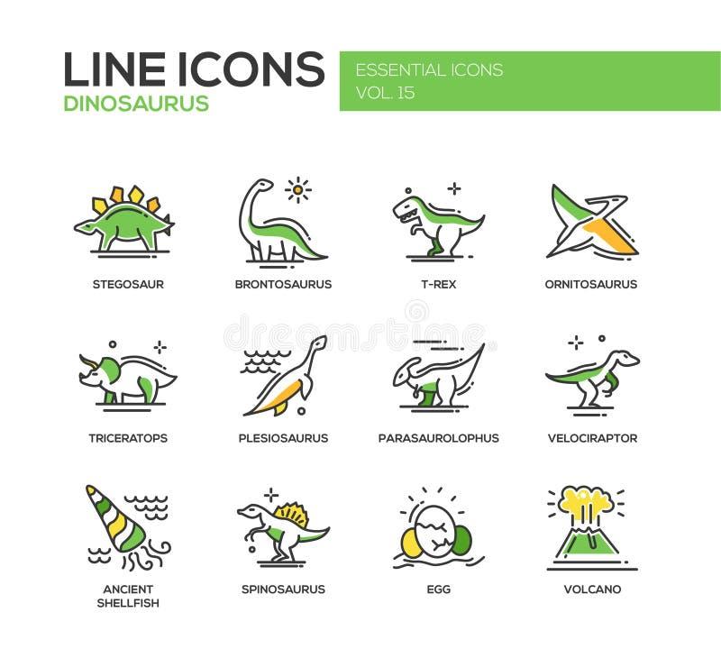 Geplaatste de pictogrammen van het de lijnontwerp van dinosaurussensoorten royalty-vrije illustratie