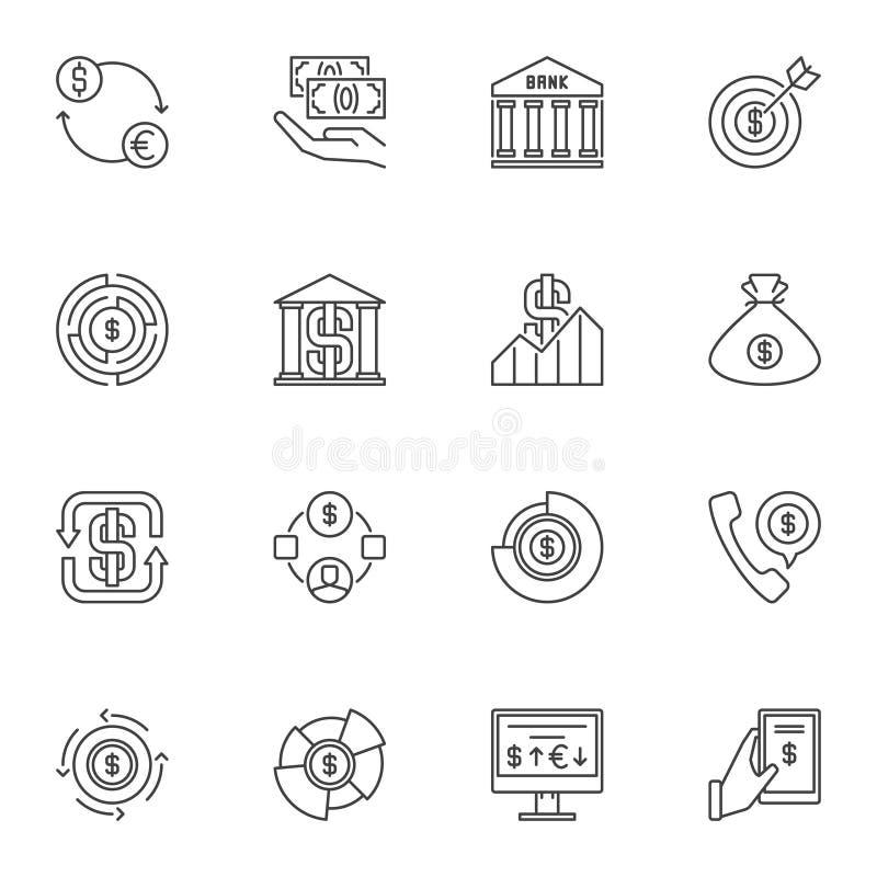 Geplaatste de pictogrammen van het dollaroverzicht Vectorusd en Geld lineaire symbolen vector illustratie
