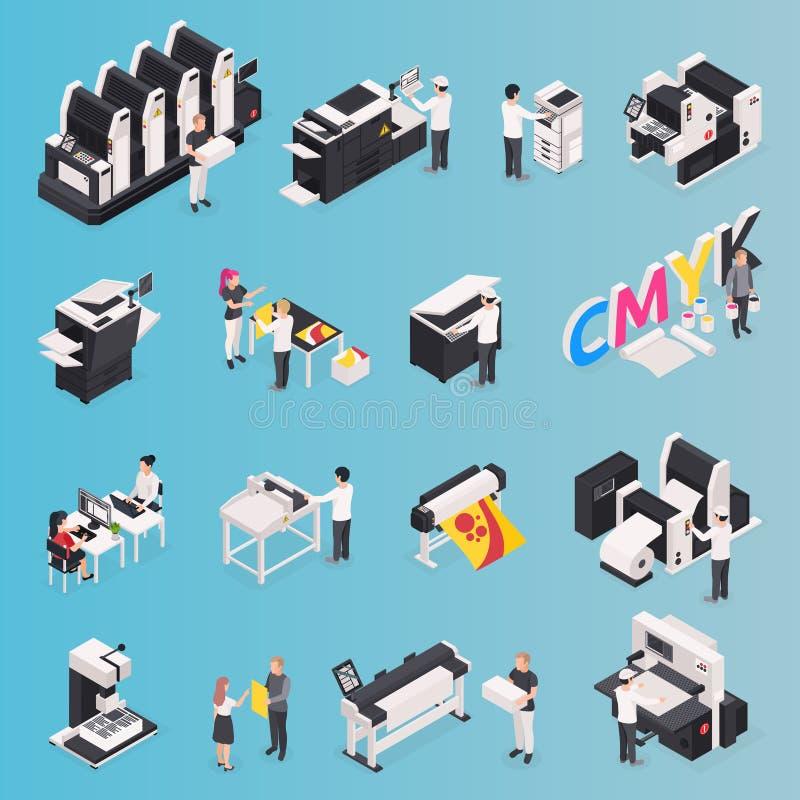 Geplaatste de pictogrammen van het drukhuis vector illustratie