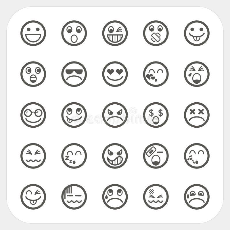 Geplaatste de pictogrammen van het emotiegezicht vector illustratie