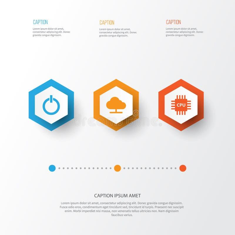 Geplaatste de pictogrammen van het gadget Inzameling van Motherboard, Macht, Boom en Andere Elementen Omvat ook Symbolen zoals stock illustratie
