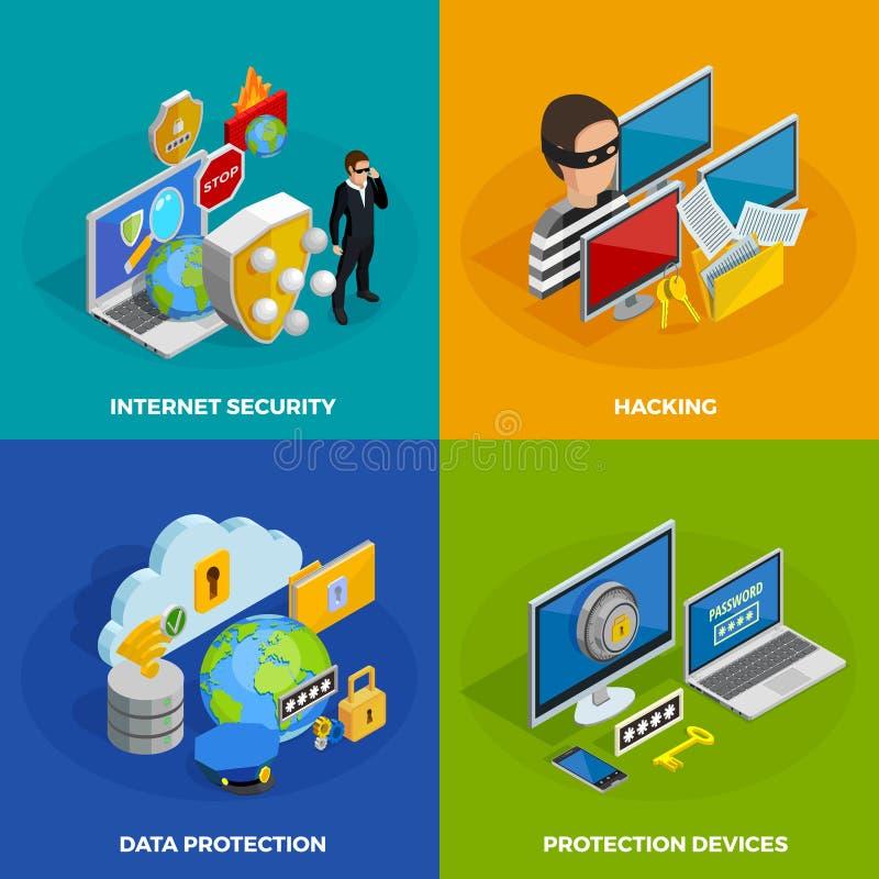 Geplaatste de Pictogrammen van het gegevensbeschermingconcept royalty-vrije illustratie