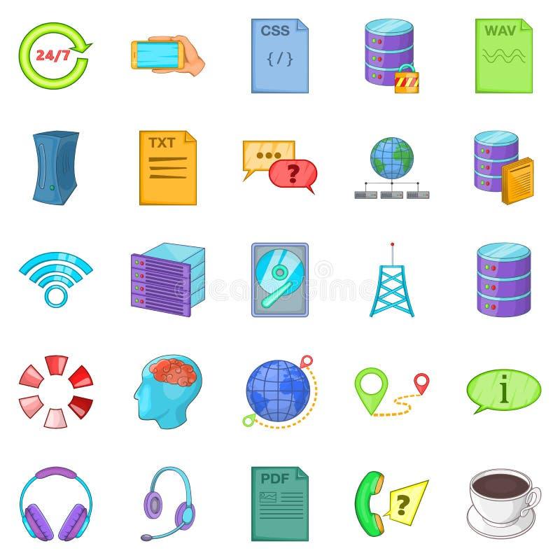 Geplaatste de pictogrammen van het gegevenscentrum, beeldverhaalstijl vector illustratie
