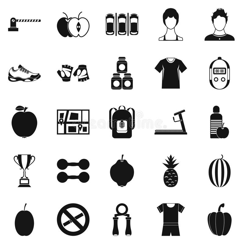 Geplaatste de pictogrammen van het geschiktheidscentrum, eenvoudige stijl stock illustratie