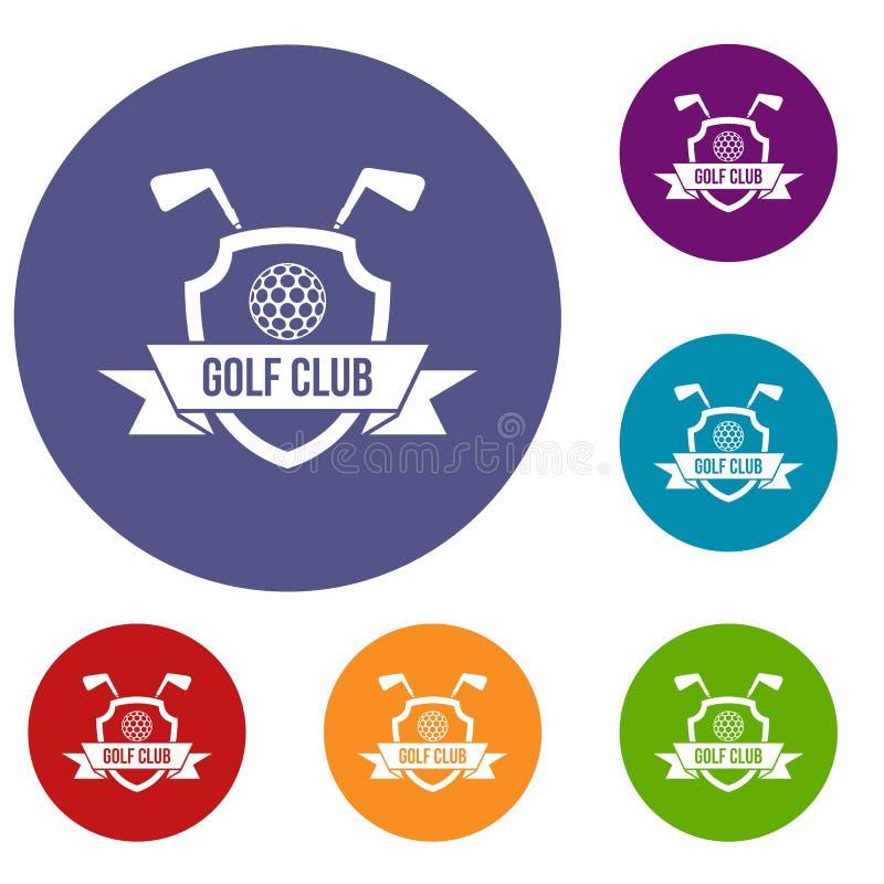 Geplaatste de pictogrammen van het golfclubembleem royalty-vrije illustratie