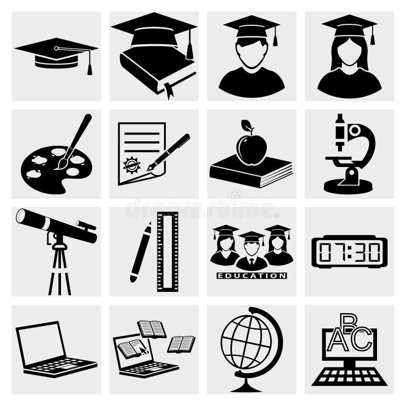 Geplaatste de pictogrammen van het hoger onderwijs stock illustratie