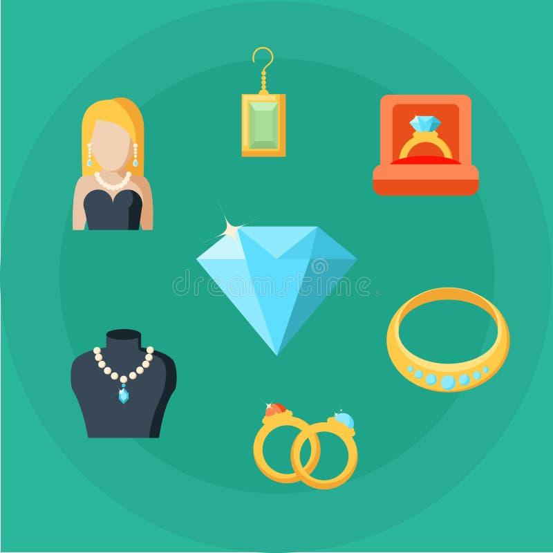 Geplaatste de Pictogrammen van het juwelenconcept stock illustratie