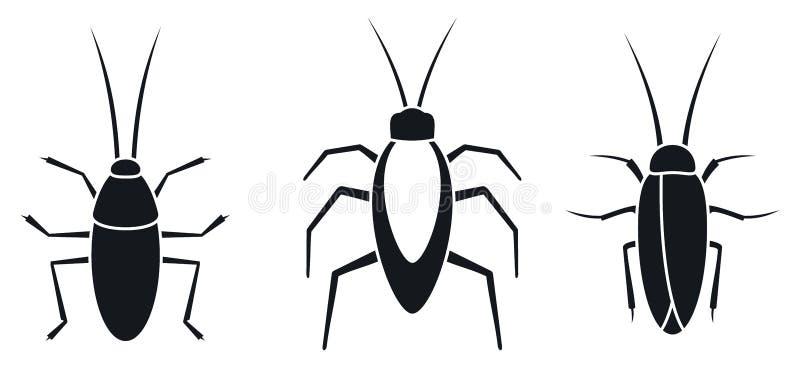 Geplaatste de pictogrammen van het kakkerlakkeninsect, eenvoudige stijl stock illustratie