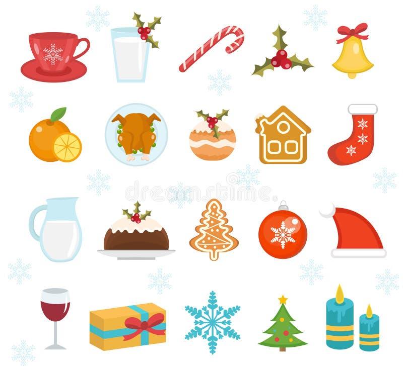 Geplaatste de pictogrammen van het Kerstmisvoedsel Reeks van traditioneel Kerstmisvoedsel en dessertsvoedsel voor Kerstman Reeks  stock illustratie