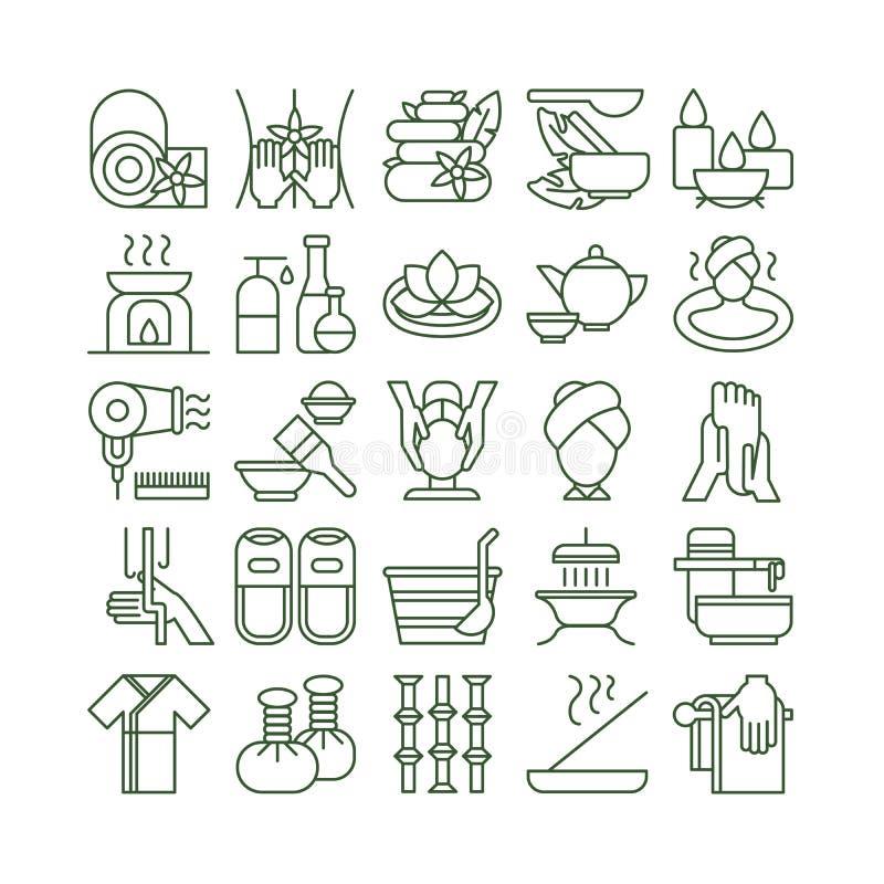 Geplaatste de pictogrammen van het kuuroord stock illustratie