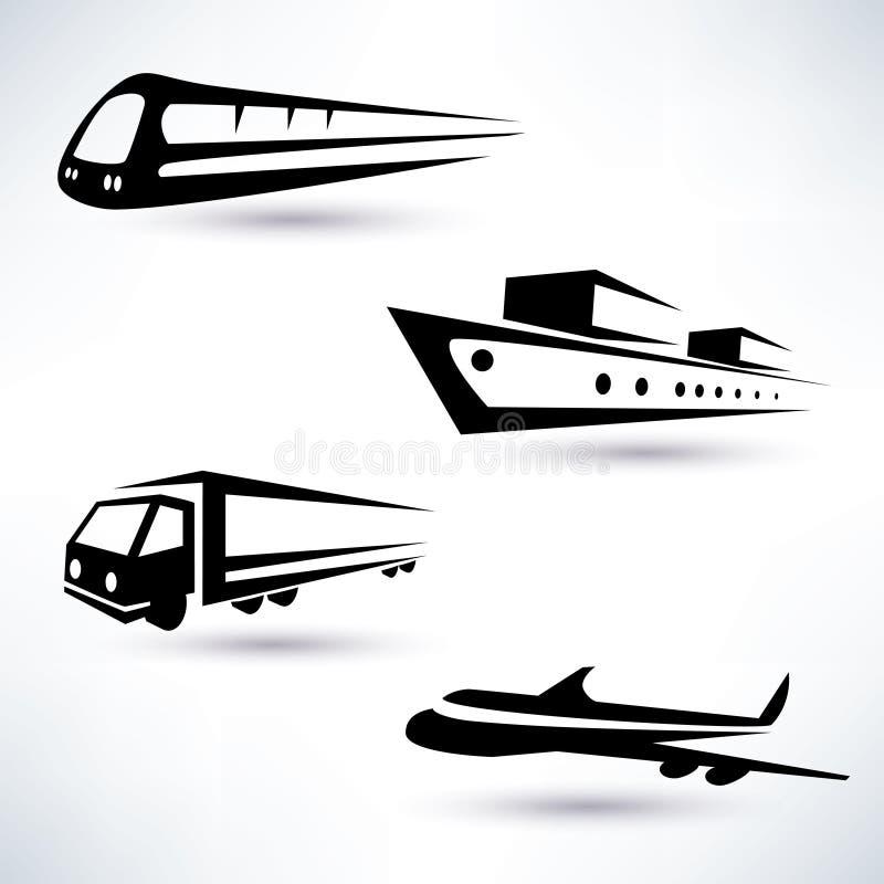 Geplaatste de pictogrammen van het ladingsvervoer royalty-vrije illustratie