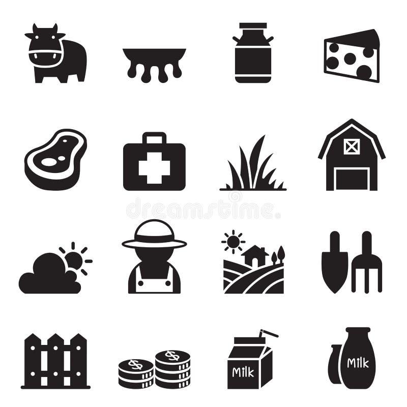 Geplaatste de Pictogrammen van het melklandbouwbedrijf vector illustratie