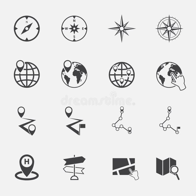 Geplaatste de pictogrammen van het navigatiesymbool stock illustratie