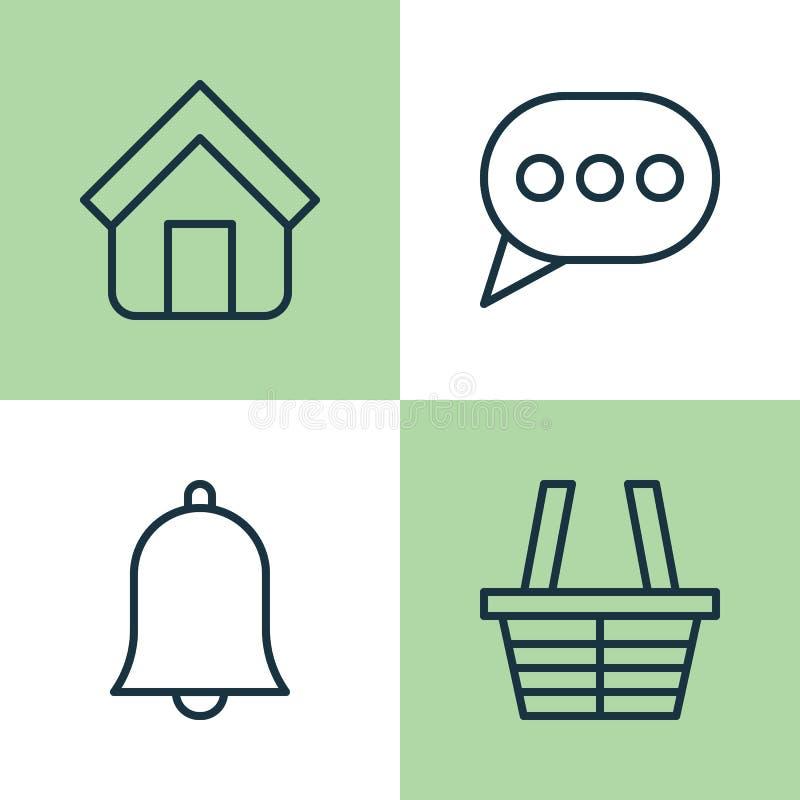 Geplaatste de pictogrammen van het netwerk Inzameling van Winkel, Landgoed, Klok en Andere Elementen Omvat ook Symbolen zoals Hui stock illustratie