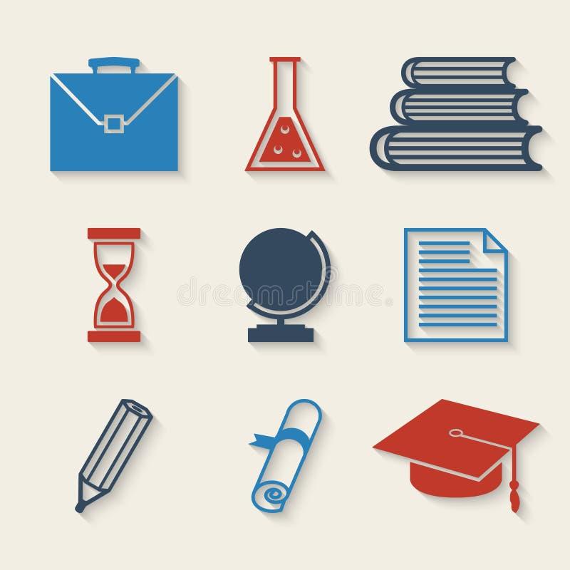 Geplaatste de pictogrammen van het onderwijs royalty-vrije illustratie