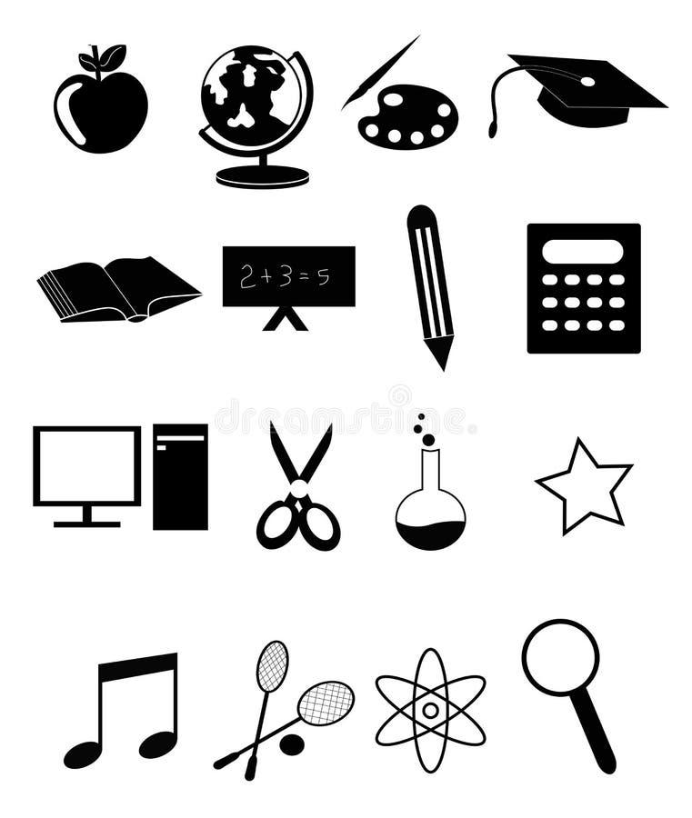 Geplaatste de pictogrammen van het onderwijs stock illustratie