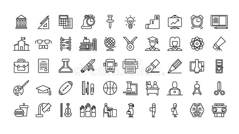 Geplaatste de pictogrammen van het onderwijs vector illustratie