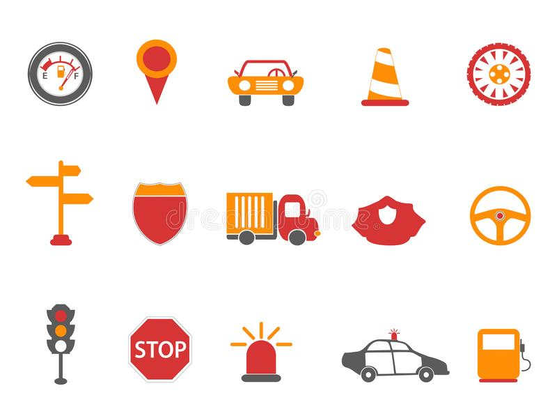 Geplaatste de pictogrammen van het oranje en rode kleurenverkeer vector illustratie