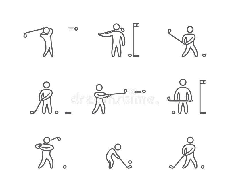 Geplaatste de pictogrammen van het overzichtsgolf vector illustratie