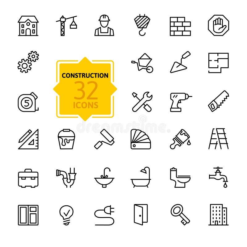 Geplaatste de pictogrammen van het overzichtsweb - bouw, de hulpmiddelen van de huisreparatie stock illustratie