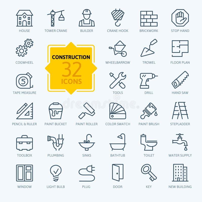 Geplaatste de pictogrammen van het overzichtsweb - bouw, de hulpmiddelen van de huisreparatie vector illustratie