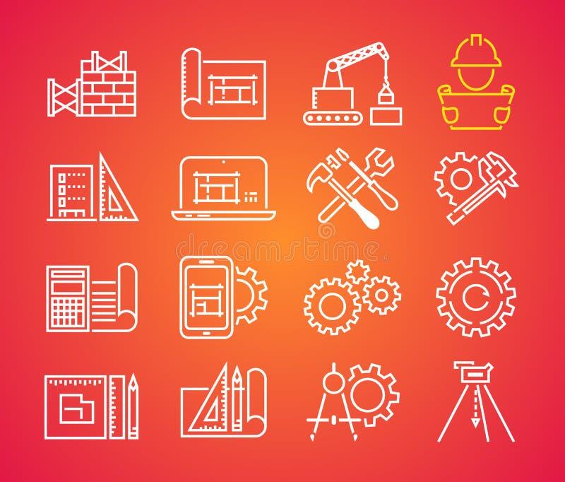 Geplaatste de pictogrammen van het overzichtsweb - de bouw, bouw en huisreparatiehulpmiddelen Het pictogram van de technieklijn vector illustratie