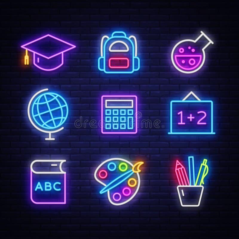 Geplaatste de pictogrammen van het schoolneon Terug naar de tekensontwerpsjabloon van het Schoolneon Helder uithangbord, lichte b royalty-vrije illustratie