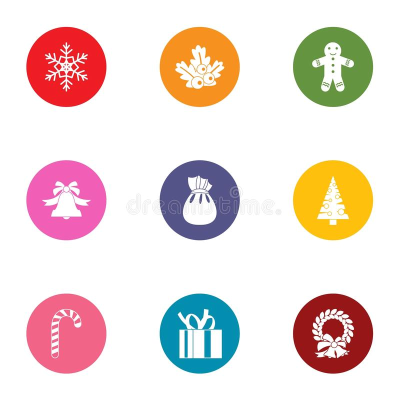 Geplaatste de pictogrammen van het sneeuwmirakel, vlakke stijl vector illustratie