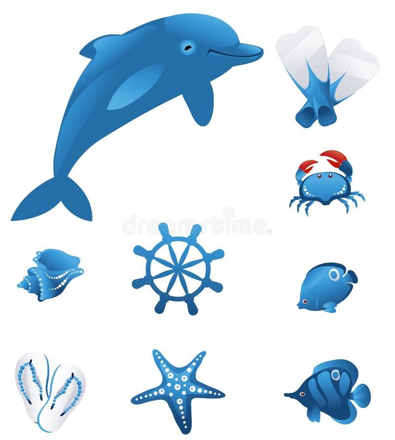 Geplaatste de pictogrammen van het strand royalty-vrije illustratie