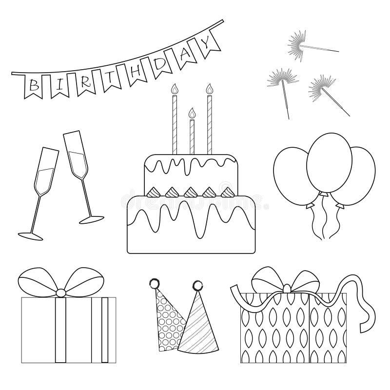 Geplaatste de pictogrammen van het verjaardagsoverzicht Zwart-witte elementen van verjaardag royalty-vrije stock foto's