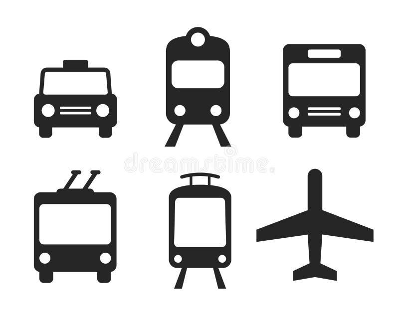 Geplaatste de pictogrammen van het vervoer vector illustratie