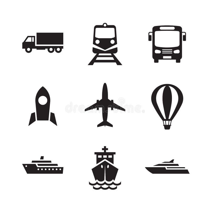 Geplaatste de pictogrammen van het vervoer Het tekeninzameling van het vervoers logistische concept Vector illustratie vector illustratie