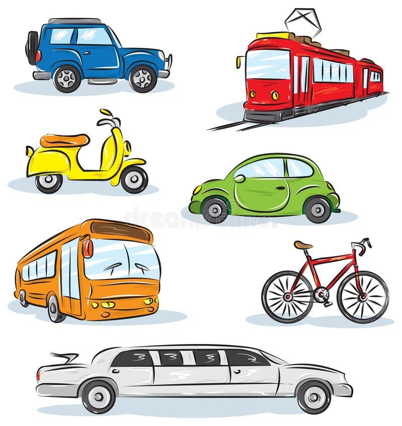 Geplaatste de pictogrammen van het Vervoer van de stad royalty-vrije illustratie