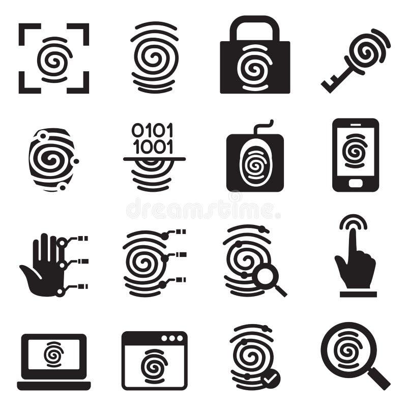 Geplaatste de pictogrammen van het vingerafdrukveiligheidssysteem royalty-vrije illustratie