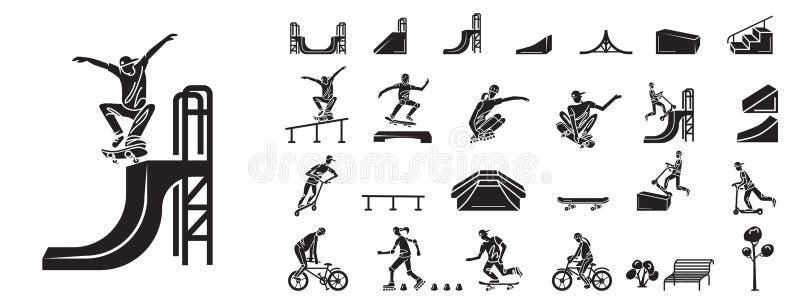 Geplaatste de pictogrammen van het vleetpark, eenvoudige stijl stock illustratie