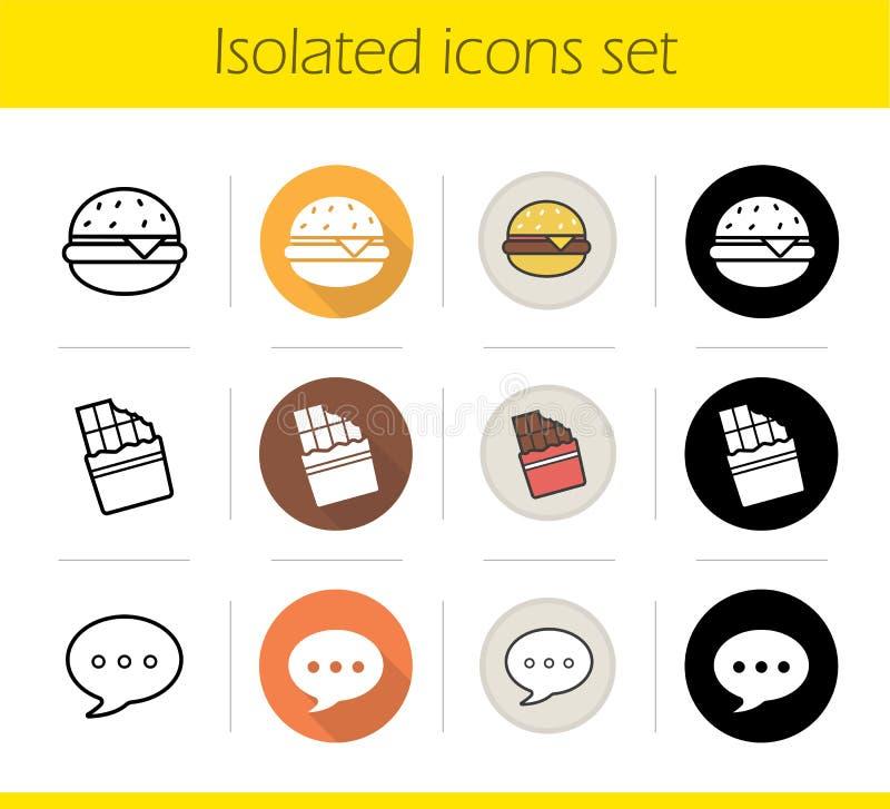 Geplaatste de pictogrammen van het voedsel stock illustratie