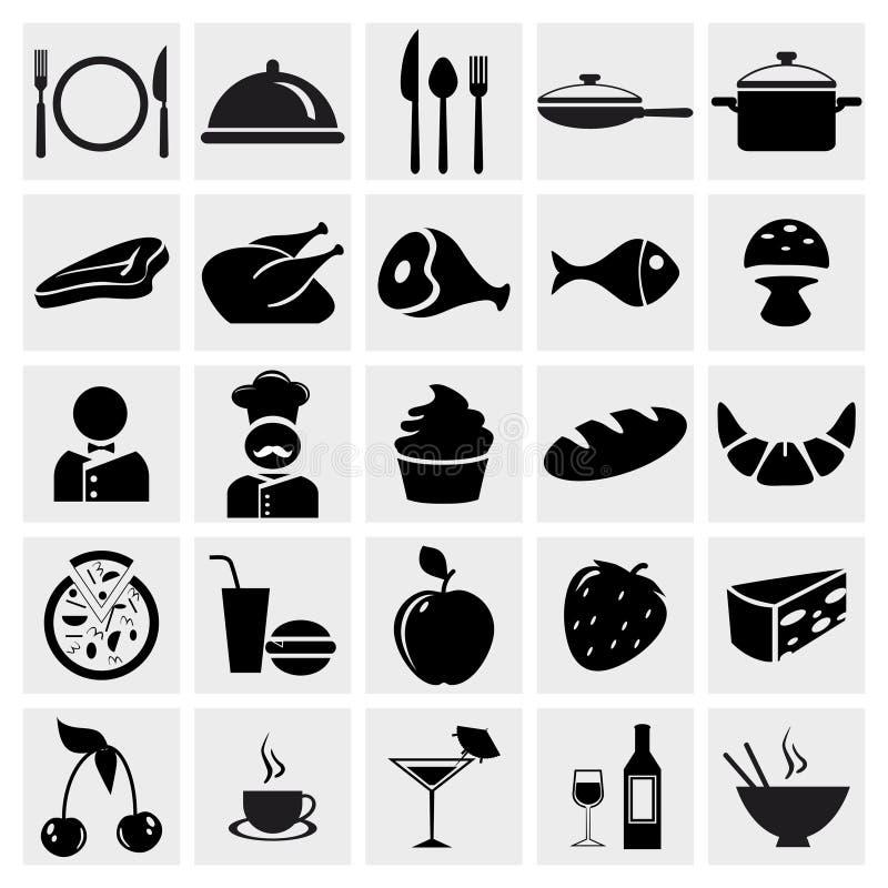 Geplaatste de pictogrammen van het voedsel en van het Restaurant