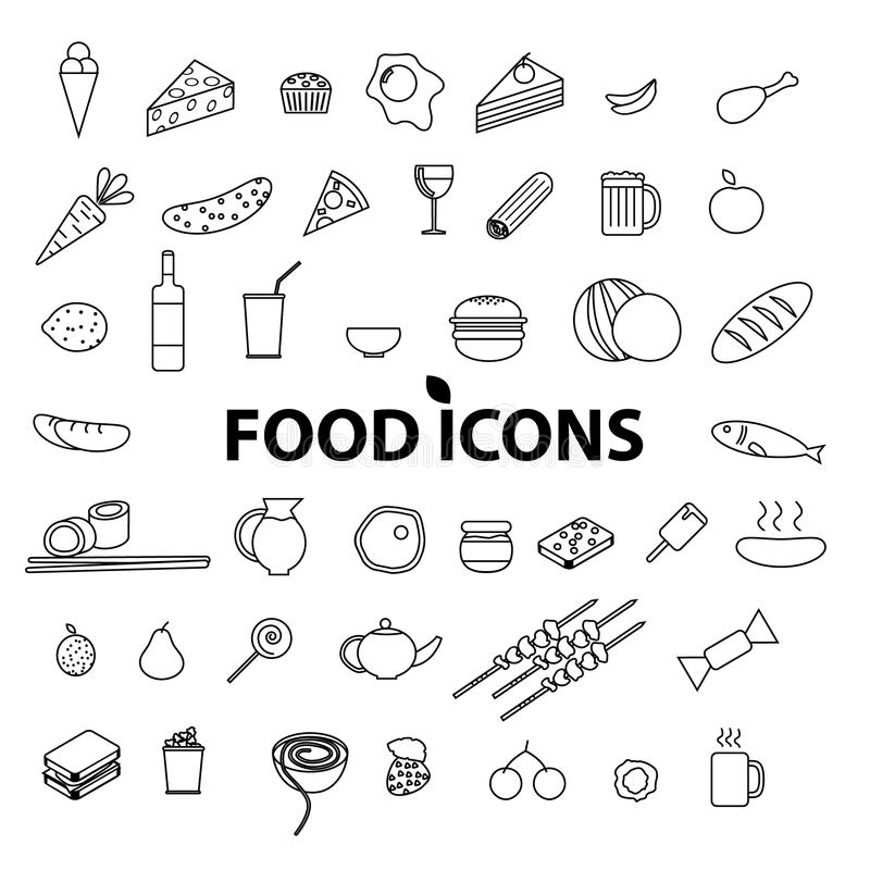Geplaatste de pictogrammen van het voedsel Vector illustratie royalty-vrije illustratie