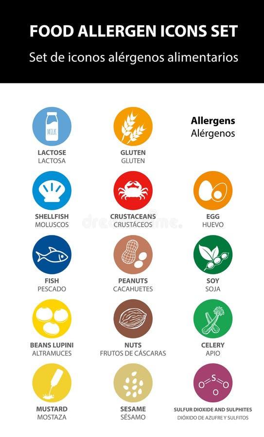 Geplaatste de pictogrammen van het voedselallergeen, vector stock illustratie