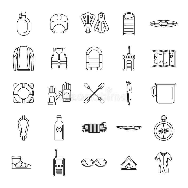 Geplaatste de pictogrammen van de het waterkano van de Raftingskajak, schetsen stijl royalty-vrije illustratie