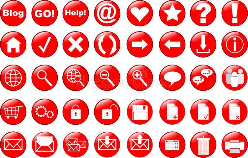 Geplaatste de pictogrammen van het Web stock illustratie