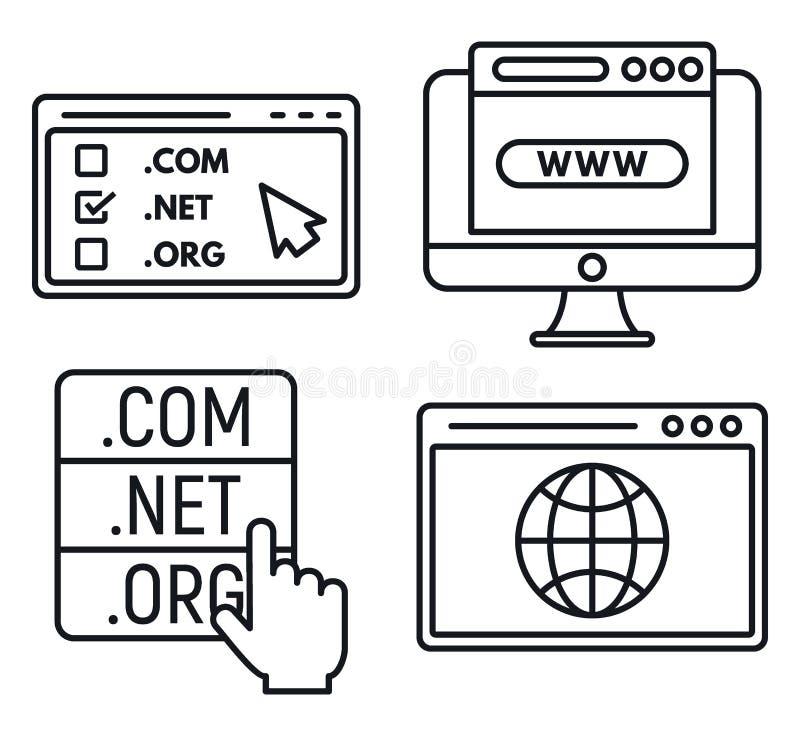 Geplaatste de pictogrammen van het Webdomein, schetsen stijl vector illustratie