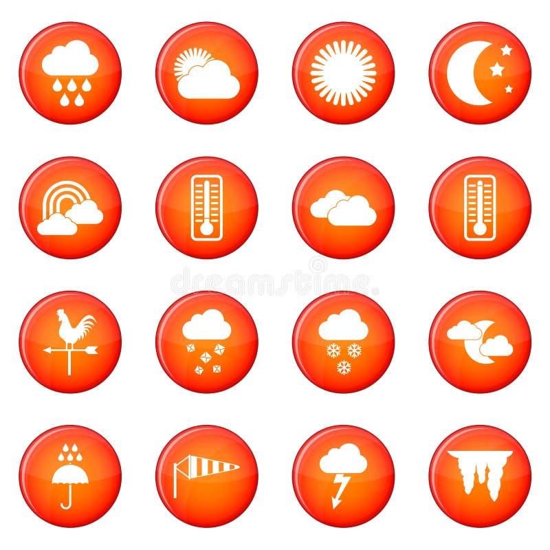 Geplaatste de pictogrammen van het weer royalty-vrije illustratie