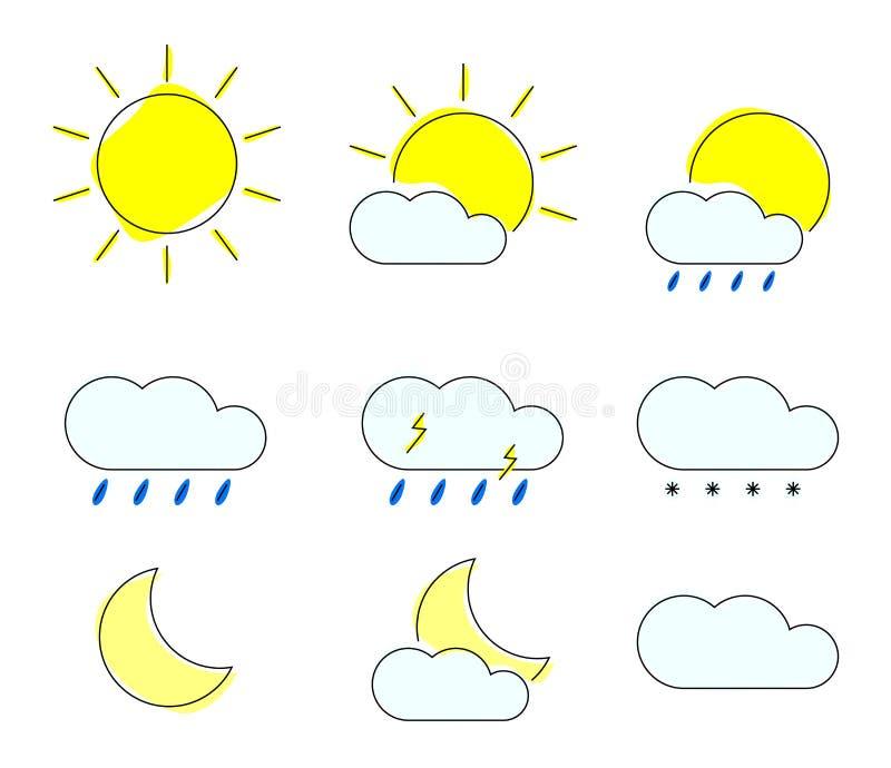 Geplaatste de pictogrammen van het weer Moderne widgets voor meteo voorspellen Vectorillustratie stock illustratie