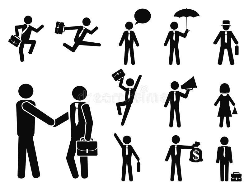 Geplaatste de pictogrammen van het zakenmanpictogram royalty-vrije illustratie