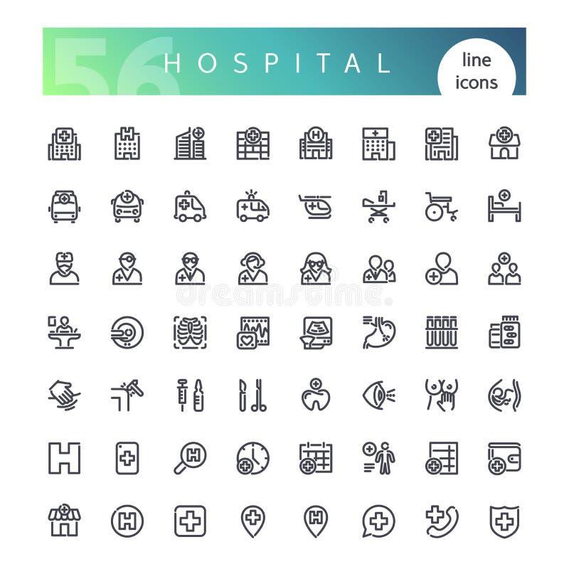 Geplaatste de Pictogrammen van de het ziekenhuislijn vector illustratie
