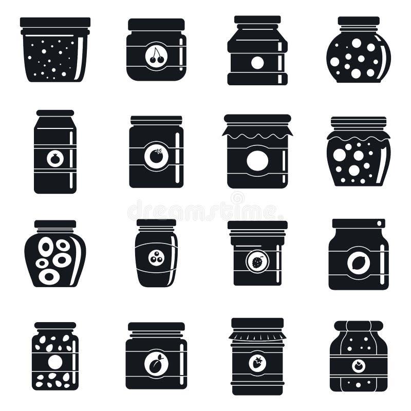 Geplaatste de pictogrammen van de huisjampot, eenvoudige stijl vector illustratie