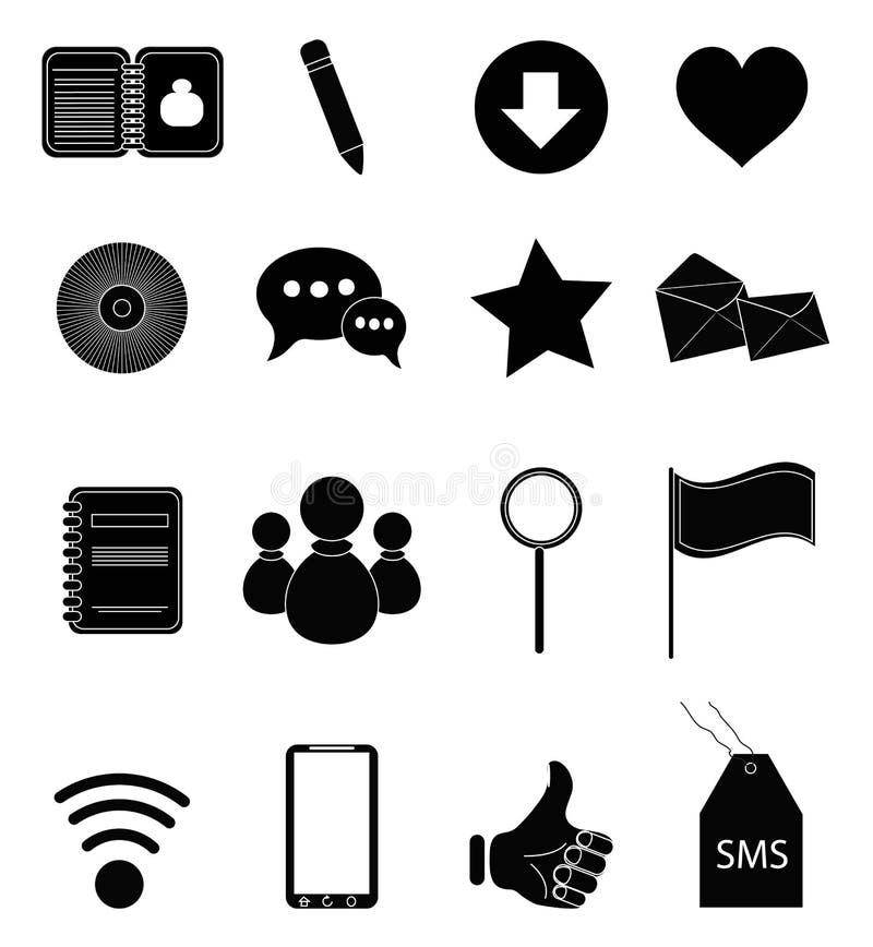 Geplaatste de pictogrammen van Internet vector illustratie