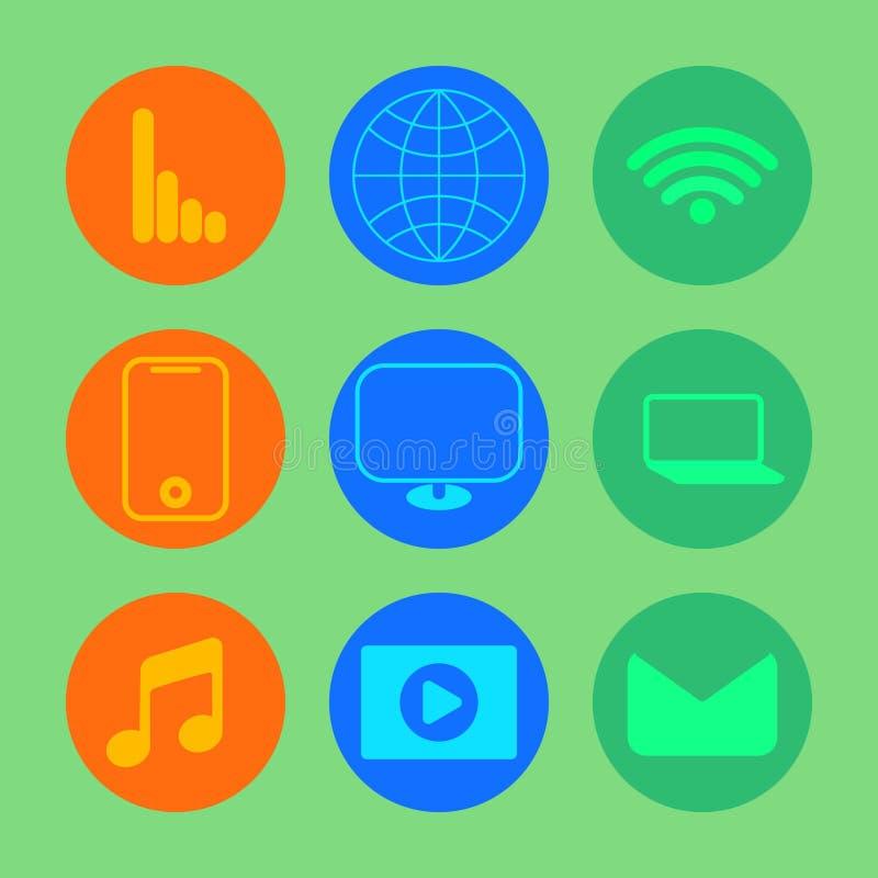Geplaatste de pictogrammen van Internet stock foto's