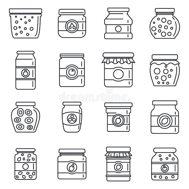 Geplaatste de pictogrammen van de jampotgelei, schetsen stijl vector illustratie